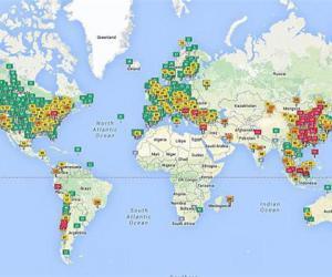 全球空气污染分布图出炉:东亚最严重