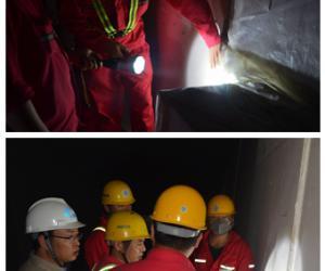 目总部组织开展沉管隧道内排烟道防火板质量检查工作